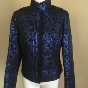 Carlisle Blue Black Animal Print Brocade Jacket 4